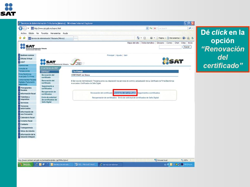 Dé click en la opción Renovación del certificado