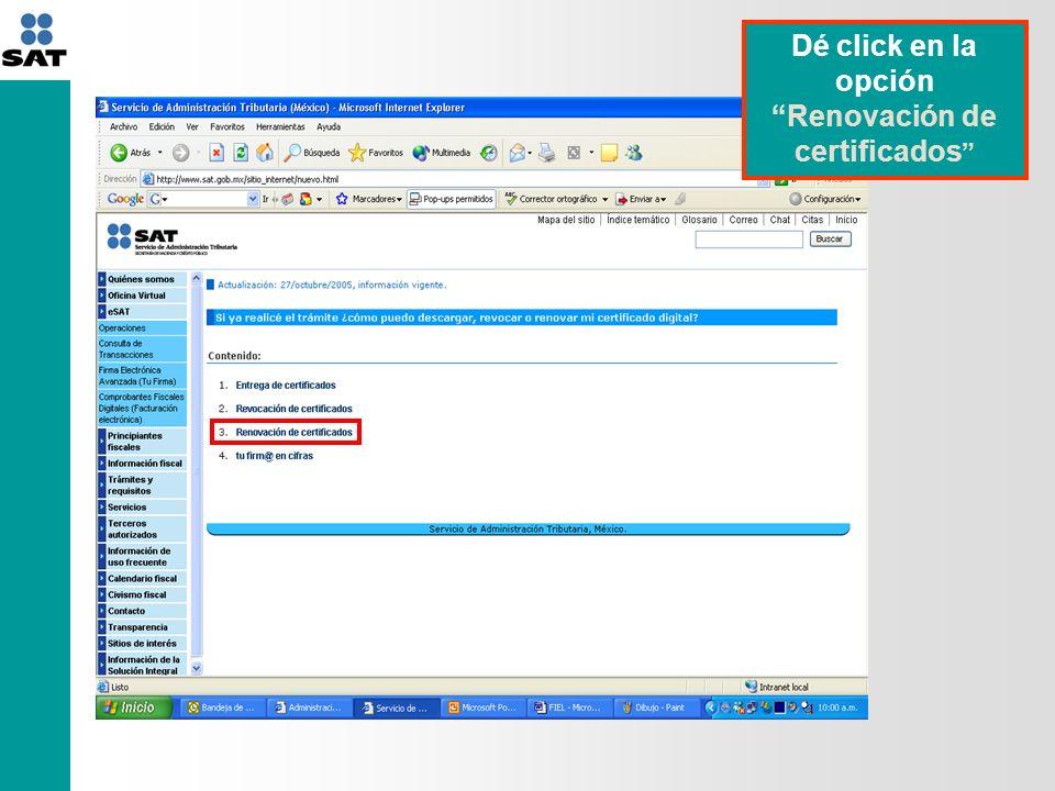 Dé click en la opción Renovación de certificados