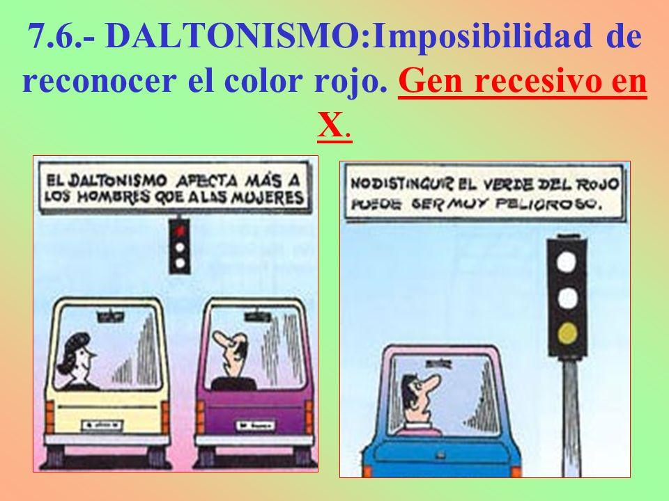 7. 6. - DALTONISMO:Imposibilidad de reconocer el color rojo