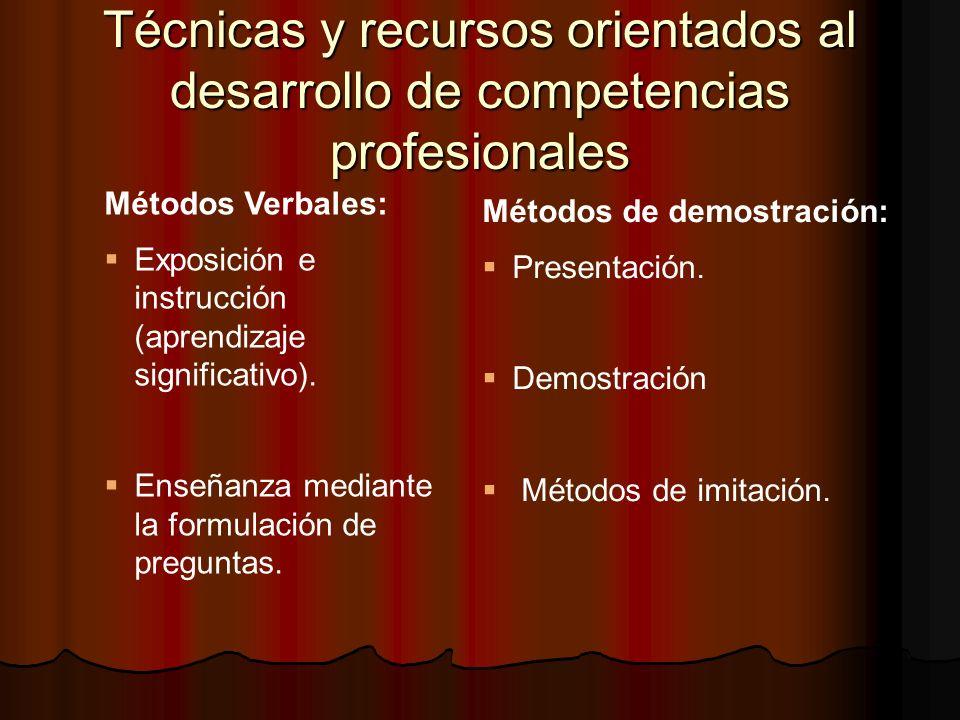 Técnicas y recursos orientados al desarrollo de competencias profesionales