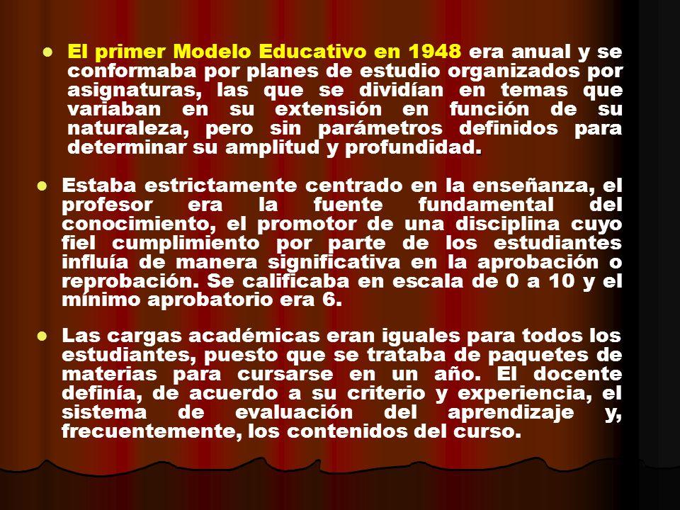 El primer Modelo Educativo en 1948 era anual y se conformaba por planes de estudio organizados por asignaturas, las que se dividían en temas que variaban en su extensión en función de su naturaleza, pero sin parámetros definidos para determinar su amplitud y profundidad.