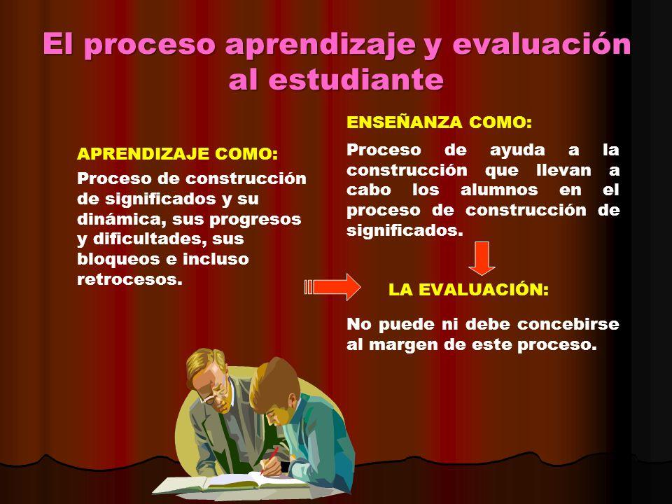 El proceso aprendizaje y evaluación al estudiante