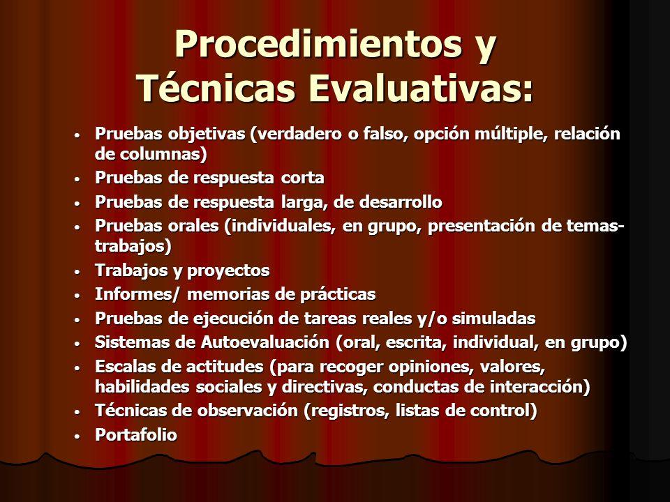 Procedimientos y Técnicas Evaluativas: