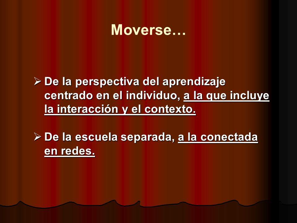 Moverse… De la perspectiva del aprendizaje centrado en el individuo, a la que incluye la interacción y el contexto.