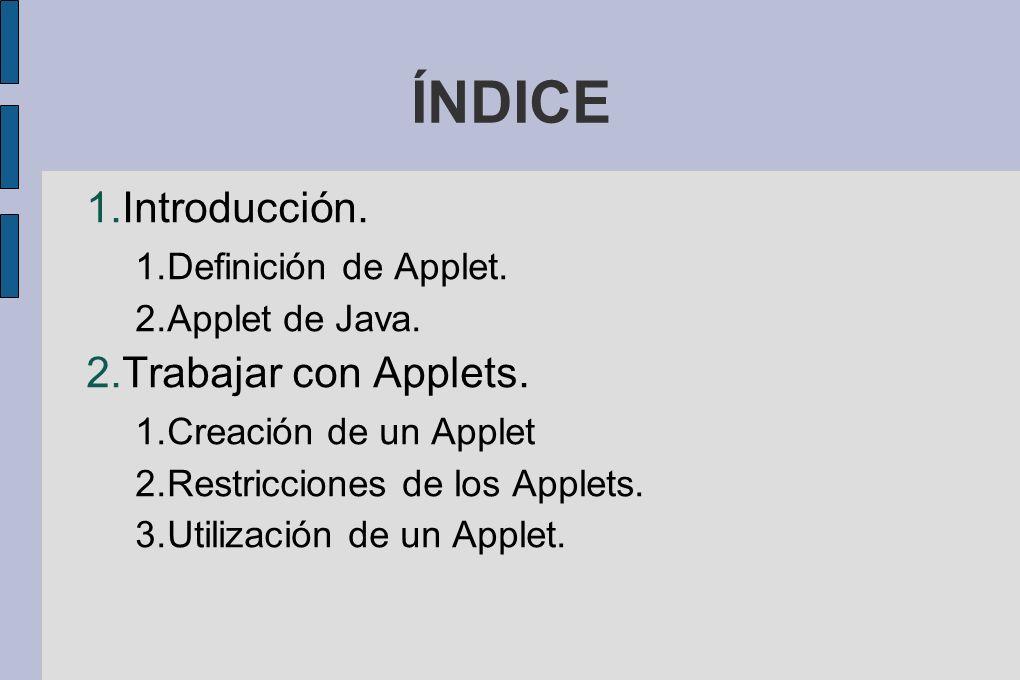 ÍNDICE Introducción. Trabajar con Applets. Definición de Applet.