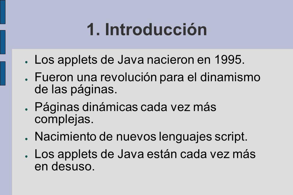 1. Introducción Los applets de Java nacieron en 1995.