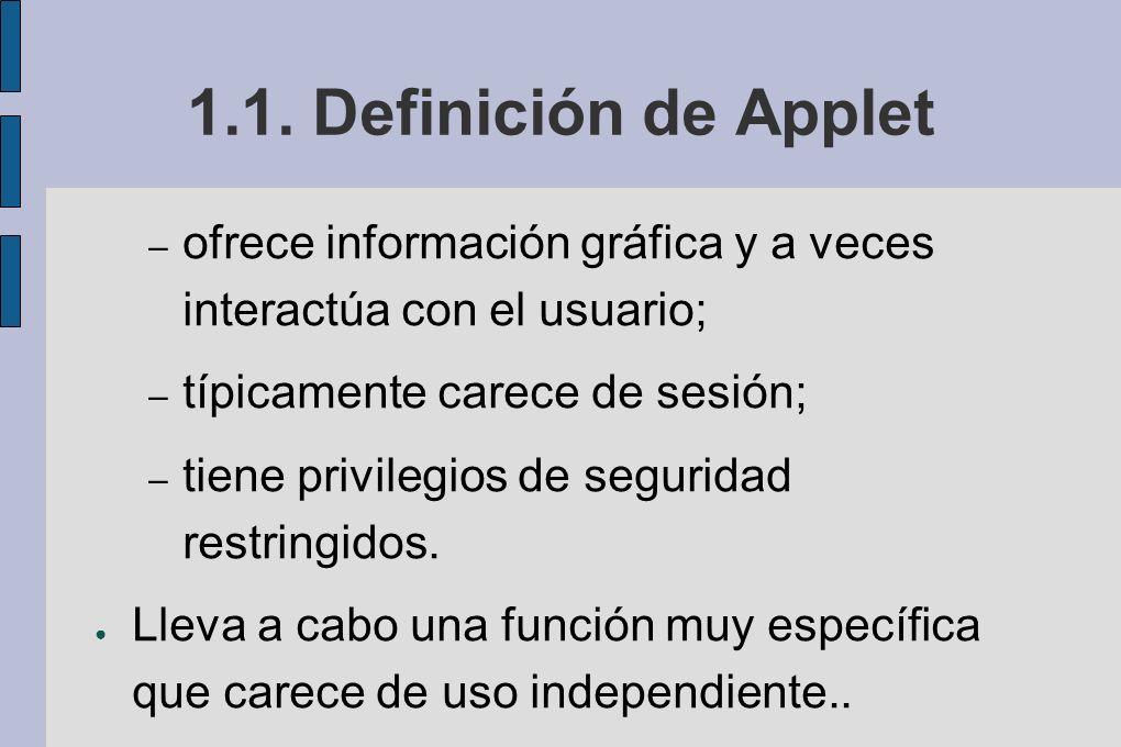 1.1. Definición de Applet ofrece información gráfica y a veces interactúa con el usuario; típicamente carece de sesión;