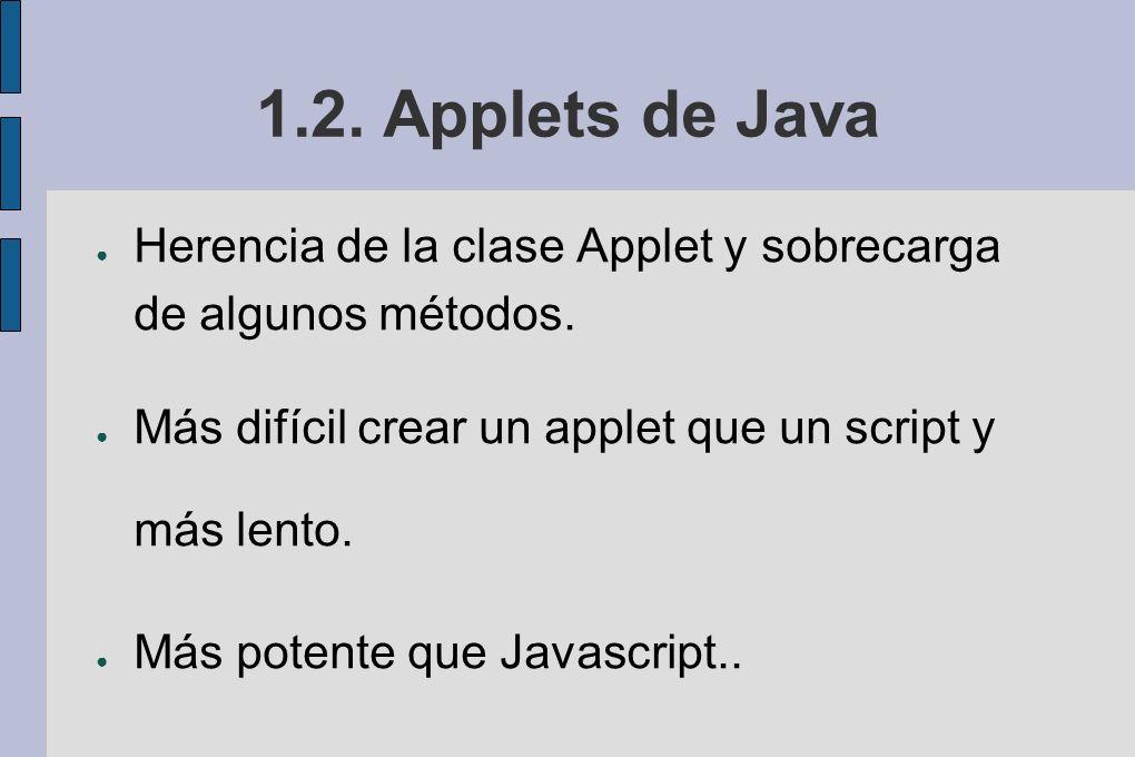 1.2. Applets de Java Herencia de la clase Applet y sobrecarga de algunos métodos. Más difícil crear un applet que un script y más lento.