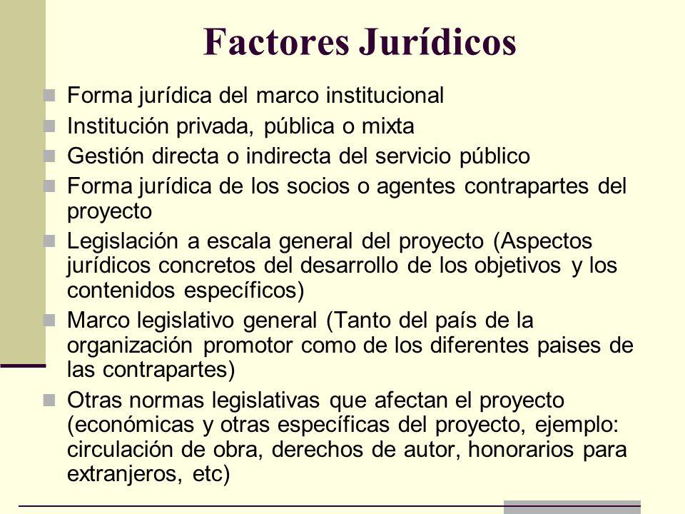 Factores Jurídicos Forma jurídica del marco institucional
