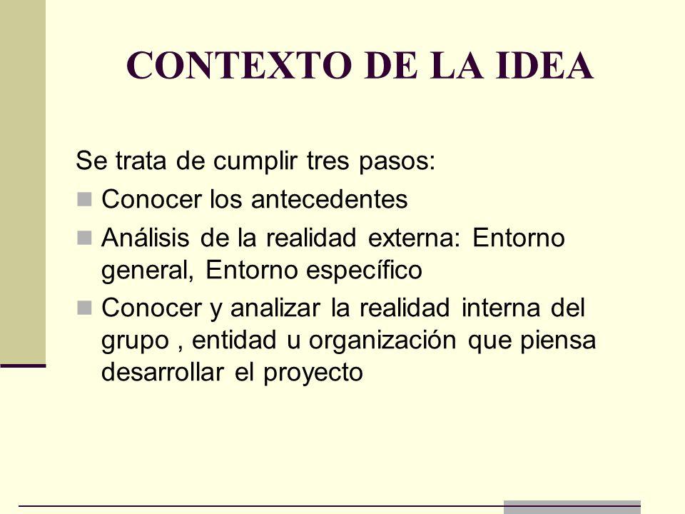 CONTEXTO DE LA IDEA Se trata de cumplir tres pasos: