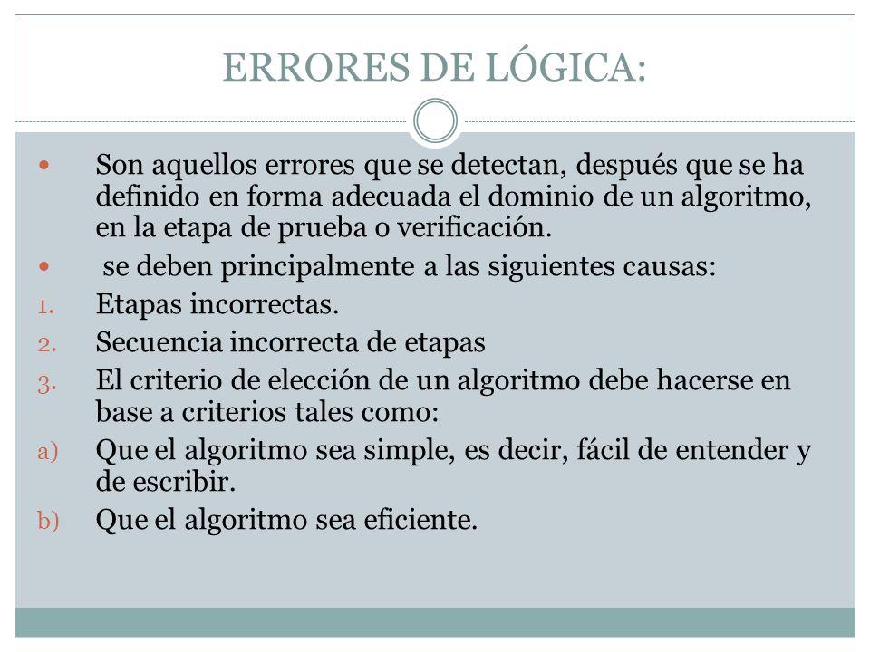 ERRORES DE LÓGICA: