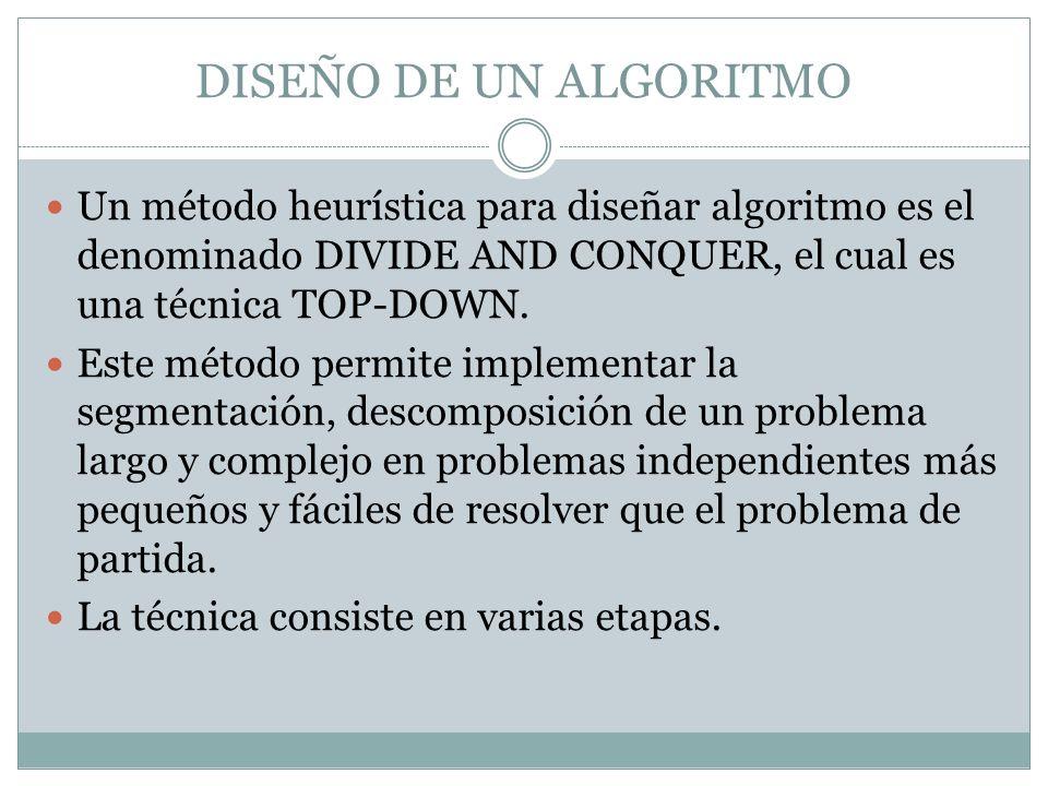 DISEÑO DE UN ALGORITMO Un método heurística para diseñar algoritmo es el denominado DIVIDE AND CONQUER, el cual es una técnica TOP-DOWN.