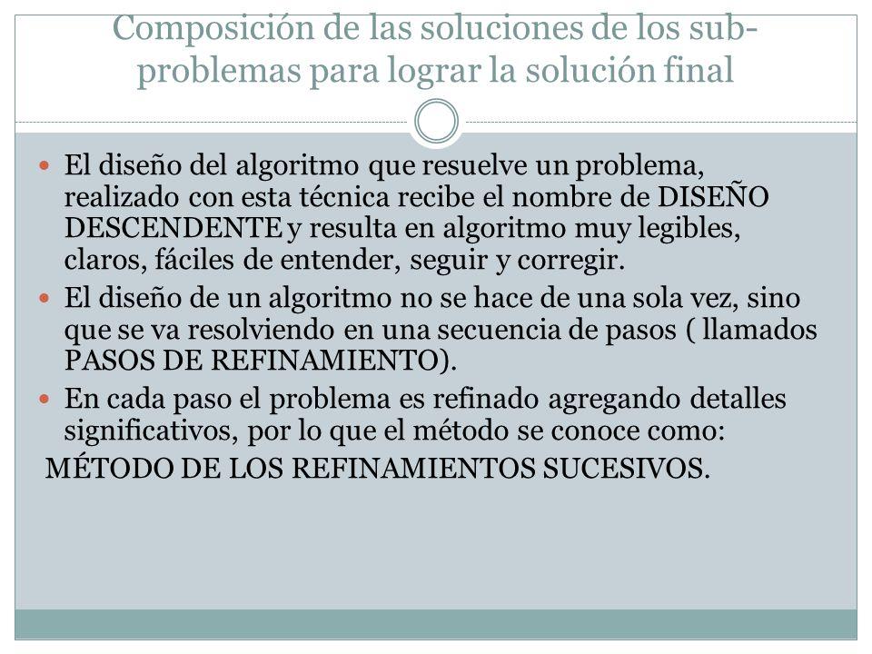 Composición de las soluciones de los sub- problemas para lograr la solución final