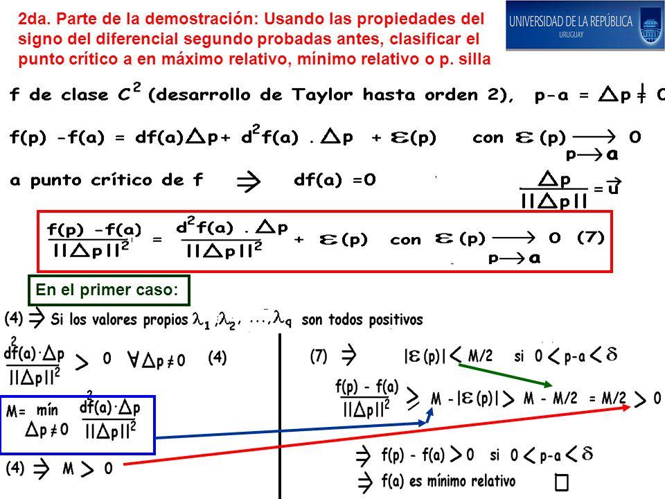 2da. Parte de la demostración: Usando las propiedades del signo del diferencial segundo probadas antes, clasificar el punto crítico a en máximo relativo, mínimo relativo o p. silla