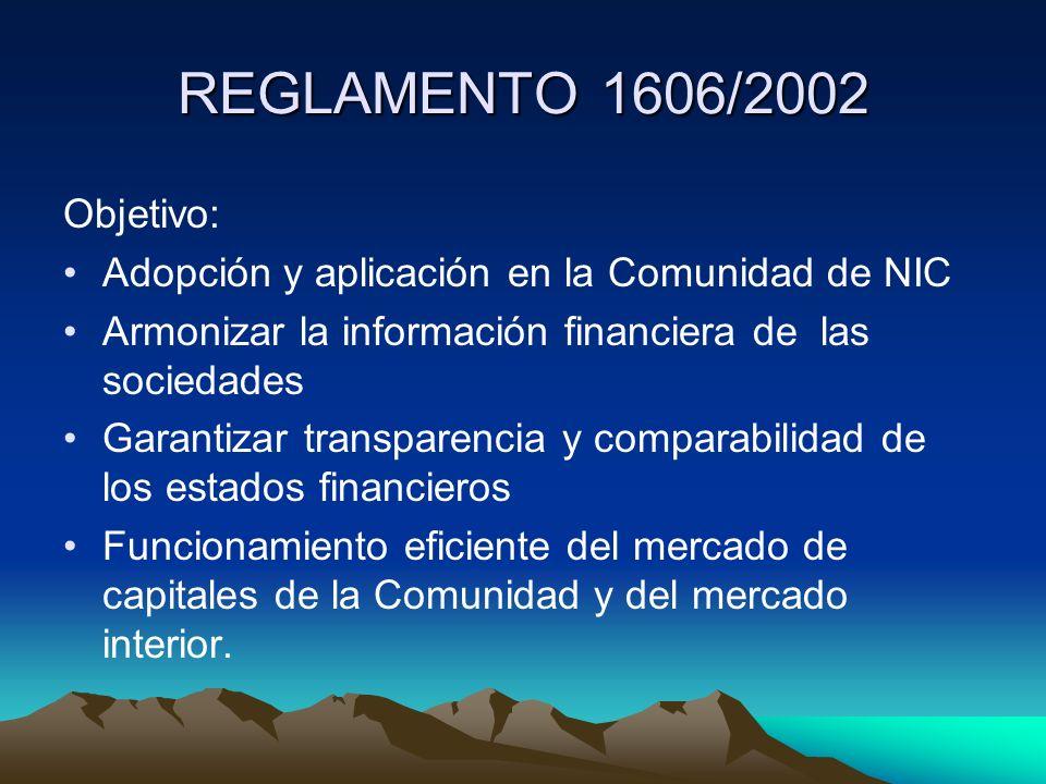 REGLAMENTO 1606/2002 Objetivo: