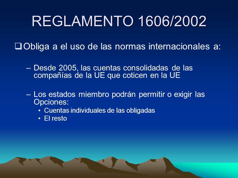 REGLAMENTO 1606/2002 Obliga a el uso de las normas internacionales a: