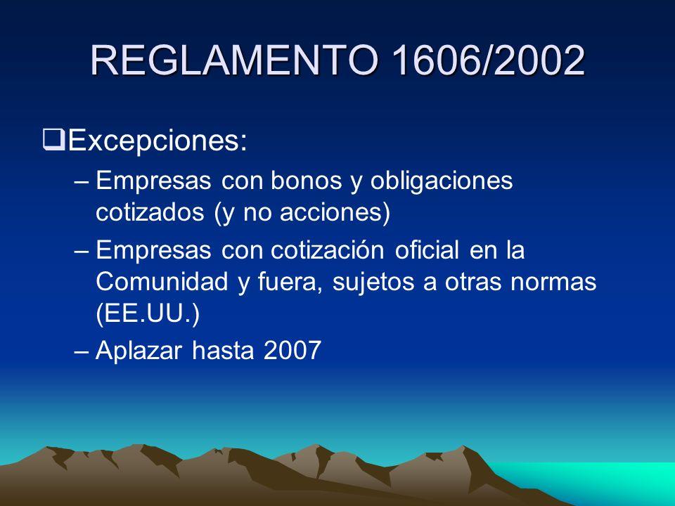 REGLAMENTO 1606/2002 Excepciones: