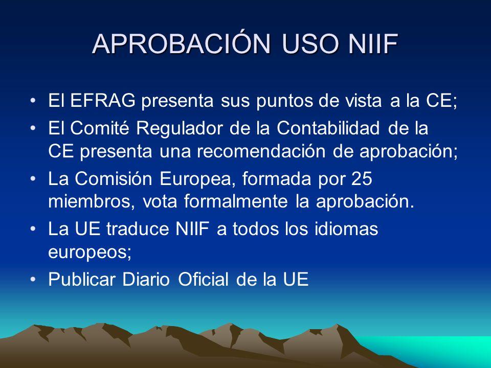 APROBACIÓN USO NIIF El EFRAG presenta sus puntos de vista a la CE;