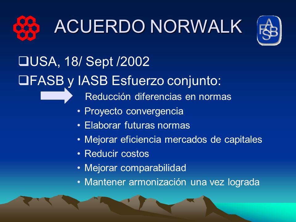 ACUERDO NORWALK USA, 18/ Sept /2002 FASB y IASB Esfuerzo conjunto: