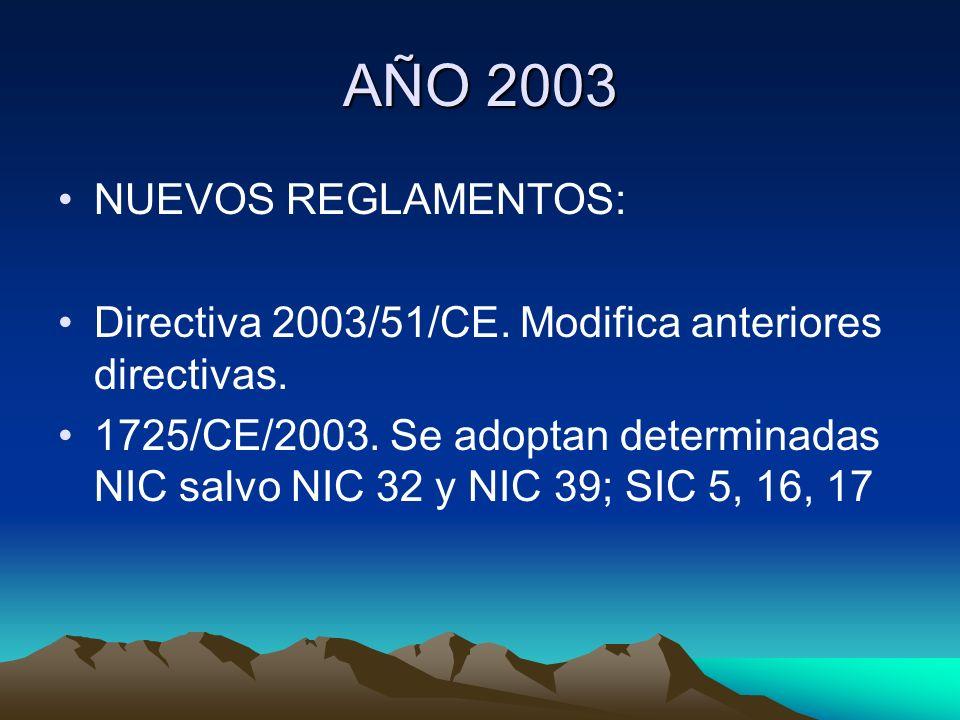 AÑO 2003 NUEVOS REGLAMENTOS: