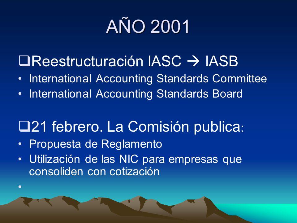 AÑO 2001 Reestructuración IASC  IASB 21 febrero. La Comisión publica: