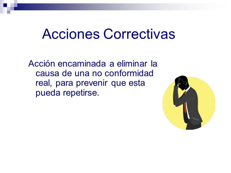 Acciones Correctivas Acción encaminada a eliminar la causa de una no conformidad real, para prevenir que esta pueda repetirse.
