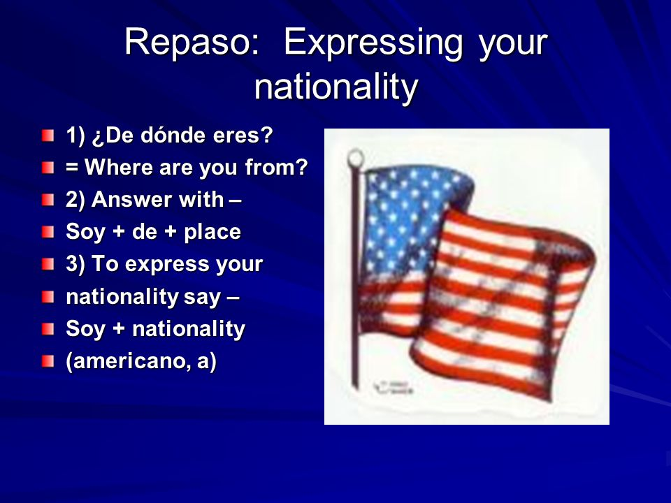 Repaso: Expressing your nationality