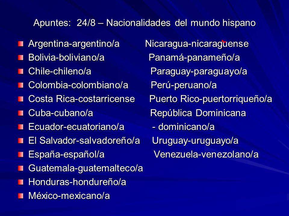 Apuntes: 24/8 – Nacionalidades del mundo hispano