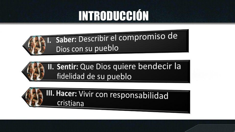 INTRODUCCIÓN I. Saber: Describir el compromiso de Dios con su pueblo