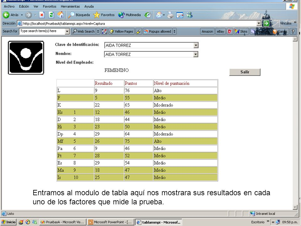 Entramos al modulo de tabla aquí nos mostrara sus resultados en cada uno de los factores que mide la prueba.