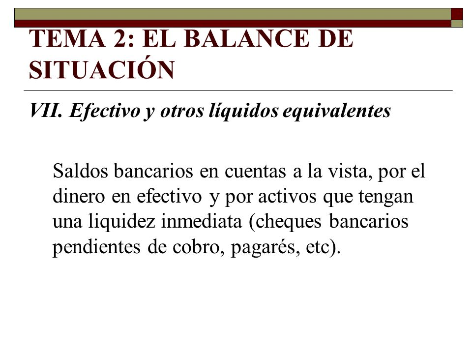 TEMA 2: EL BALANCE DE SITUACIÓN