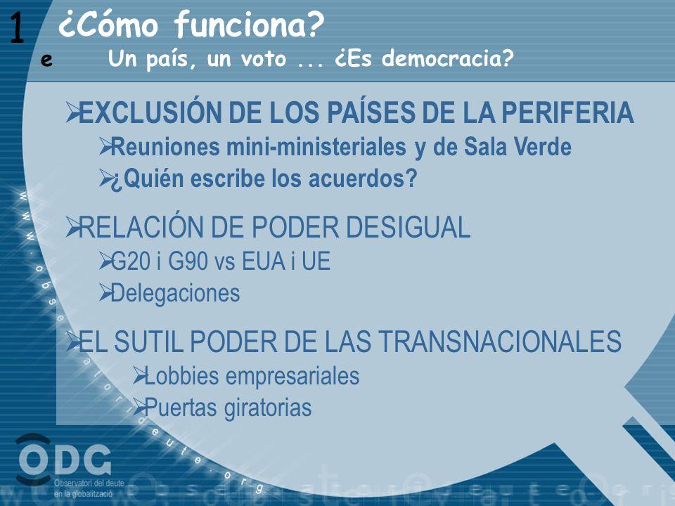 1 ¿Cómo funciona EXCLUSIÓN DE LOS PAÍSES DE LA PERIFERIA