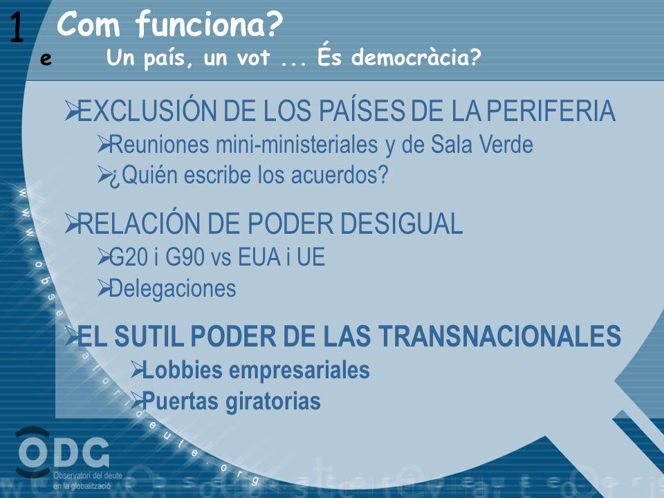 1 Com funciona EXCLUSIÓN DE LOS PAÍSES DE LA PERIFERIA