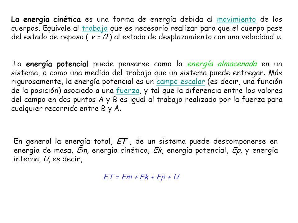 La energía cinética es una forma de energía debida al movimiento de los cuerpos. Equivale al trabajo que es necesario realizar para que el cuerpo pase del estado de reposo ( v = 0 ) al estado de desplazamiento con una velocidad v.