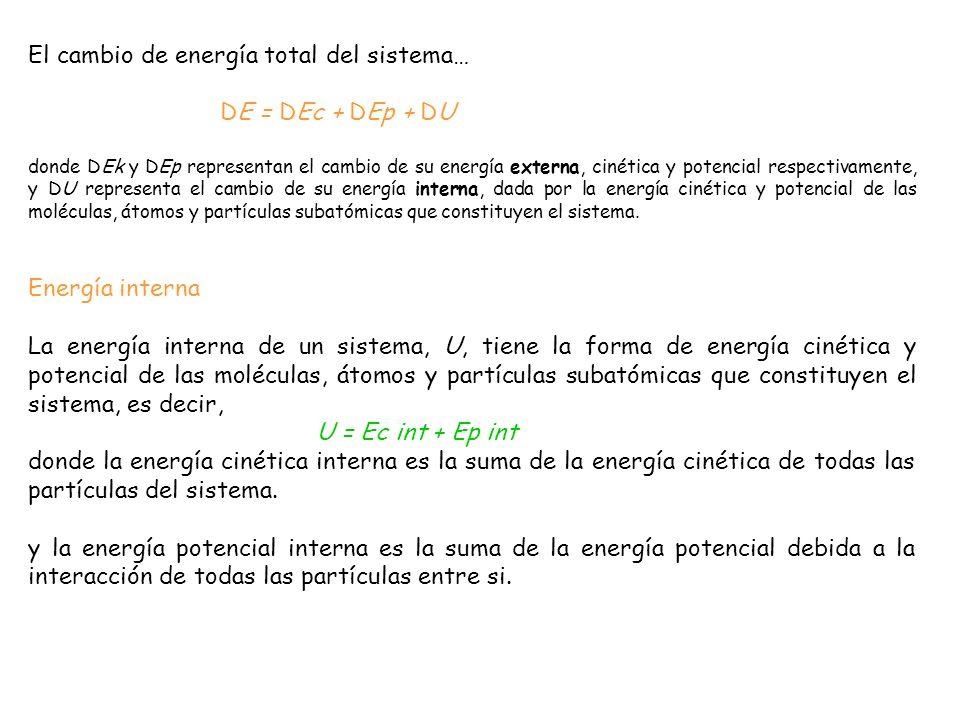 El cambio de energía total del sistema… DE = DEc + DEp + DU
