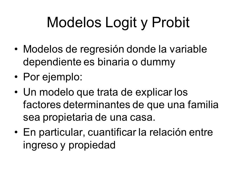 Modelos Logit y Probit Modelos de regresión donde la variable dependiente es binaria o dummy. Por ejemplo: