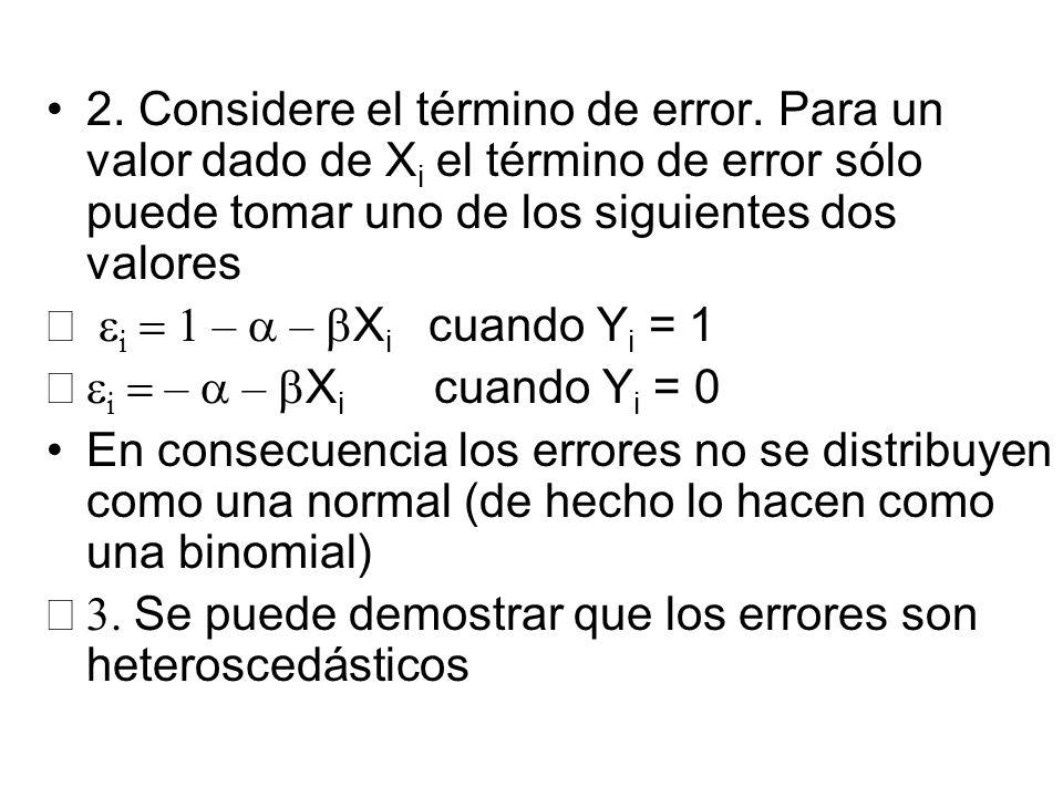 2. Considere el término de error