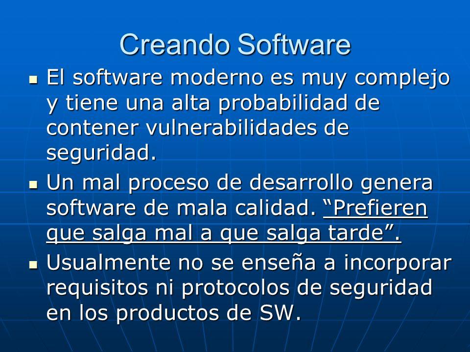 Creando Software El software moderno es muy complejo y tiene una alta probabilidad de contener vulnerabilidades de seguridad.