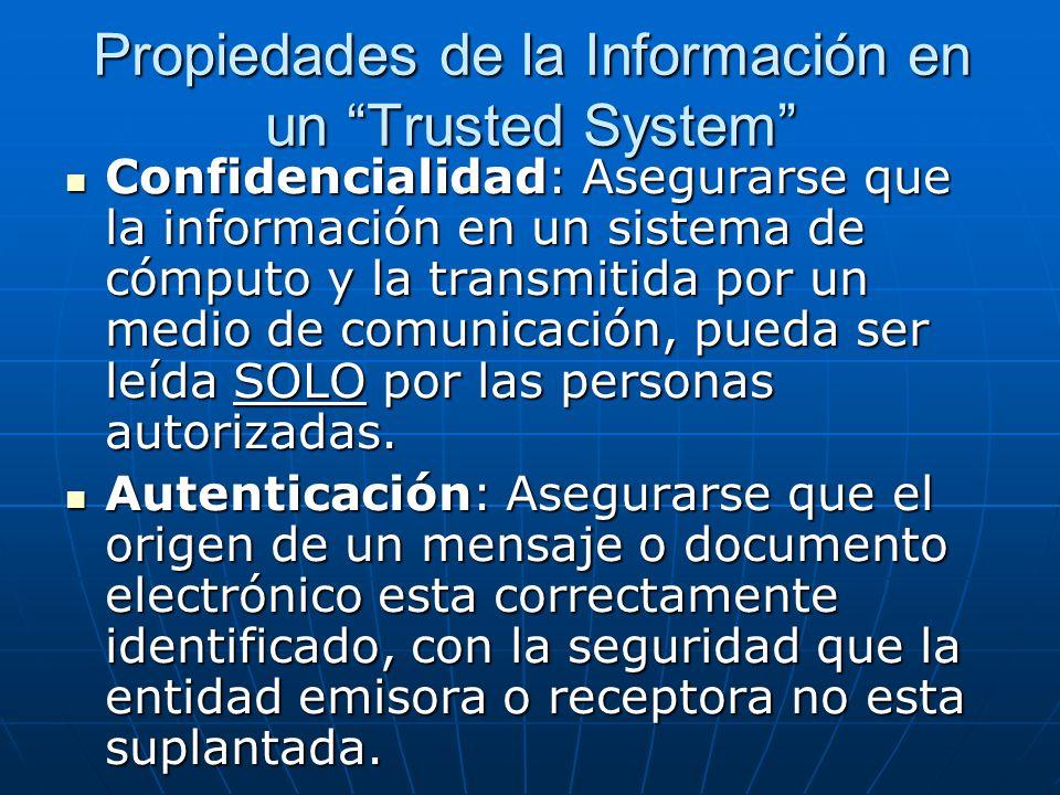 Propiedades de la Información en un Trusted System