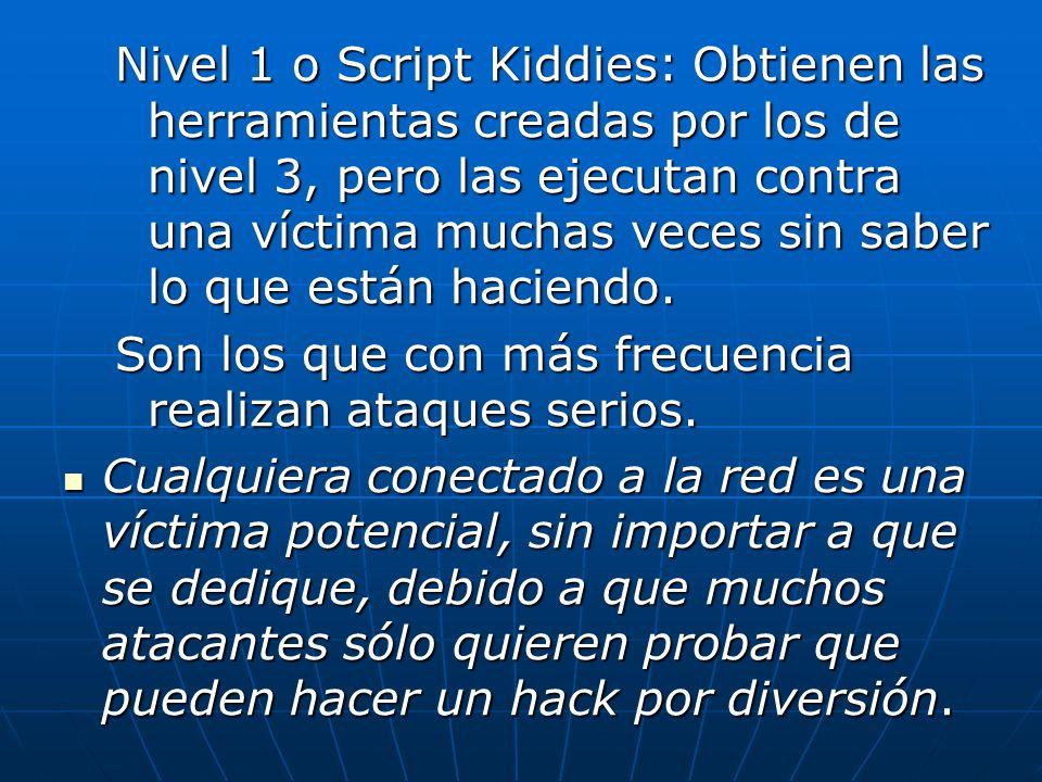 Nivel 1 o Script Kiddies: Obtienen las herramientas creadas por los de nivel 3, pero las ejecutan contra una víctima muchas veces sin saber lo que están haciendo.