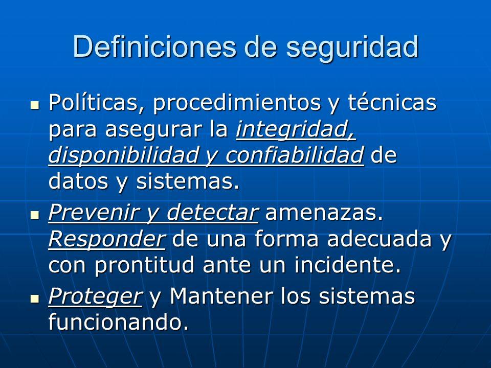 Definiciones de seguridad