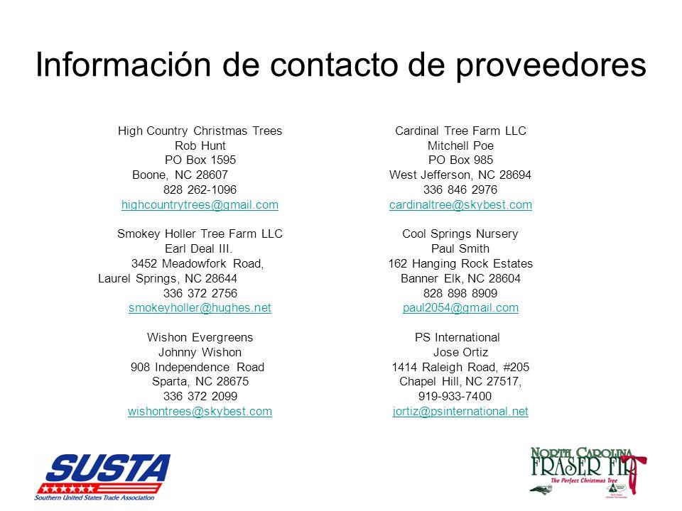 Información de contacto de proveedores