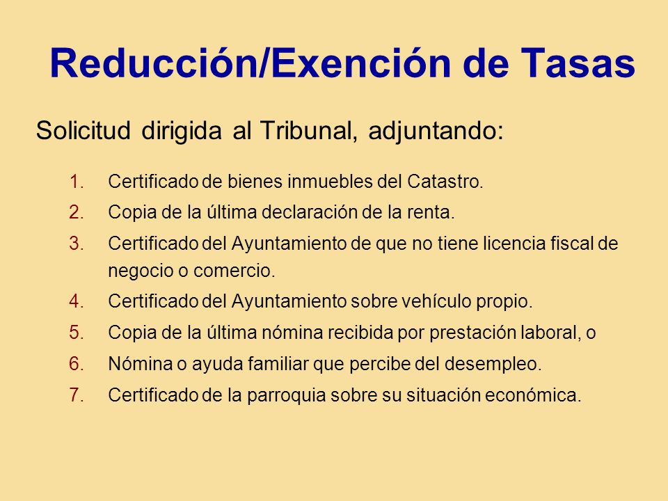 Reducción/Exención de Tasas