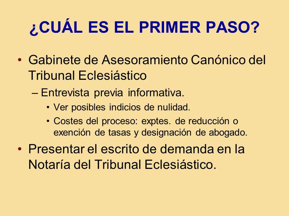 ¿CUÁL ES EL PRIMER PASO Gabinete de Asesoramiento Canónico del Tribunal Eclesiástico. Entrevista previa informativa.