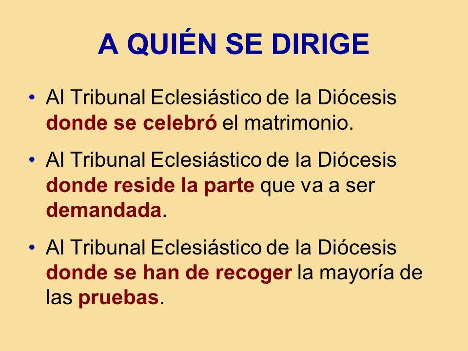 A QUIÉN SE DIRIGE Al Tribunal Eclesiástico de la Diócesis donde se celebró el matrimonio.