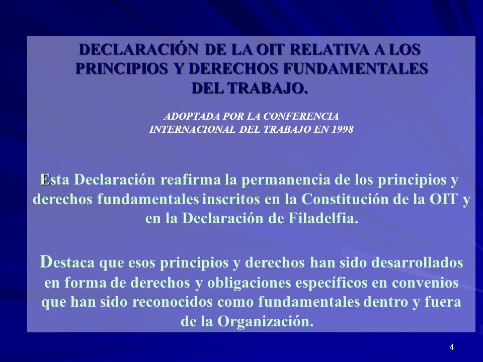 Destaca que esos principios y derechos han sido desarrollados
