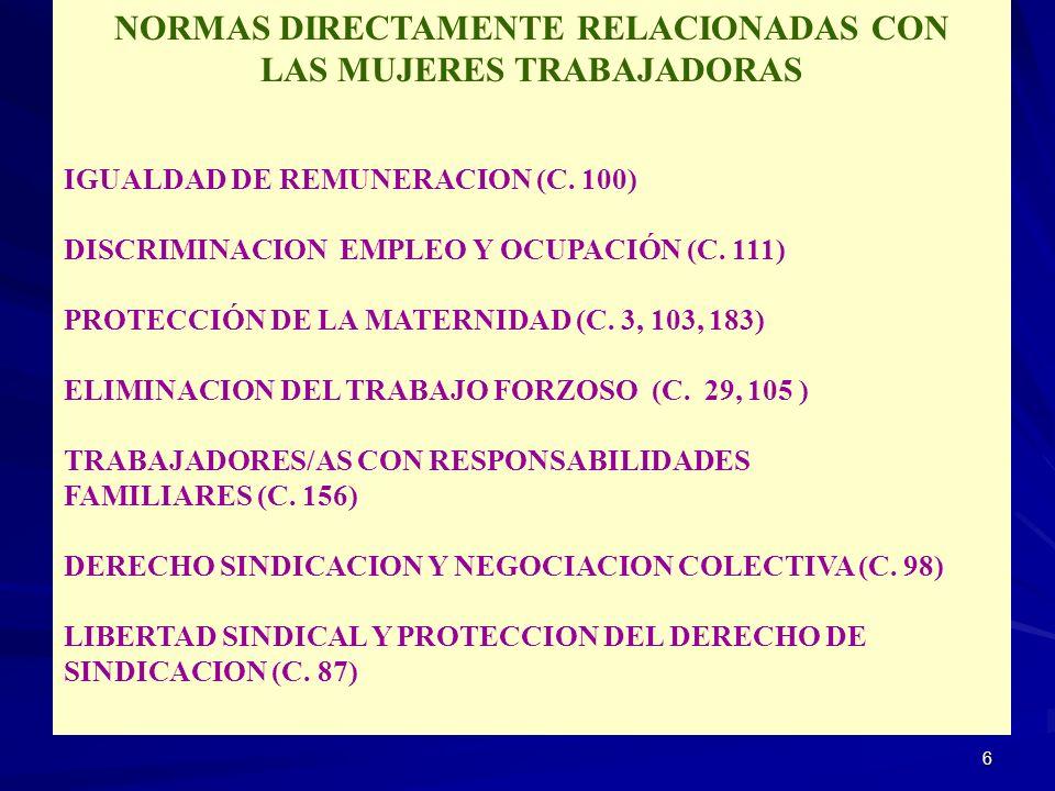 NORMAS DIRECTAMENTE RELACIONADAS CON LAS MUJERES TRABAJADORAS