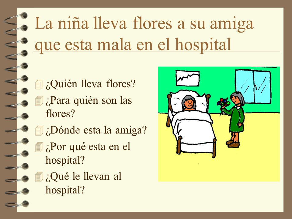 La niña lleva flores a su amiga que esta mala en el hospital