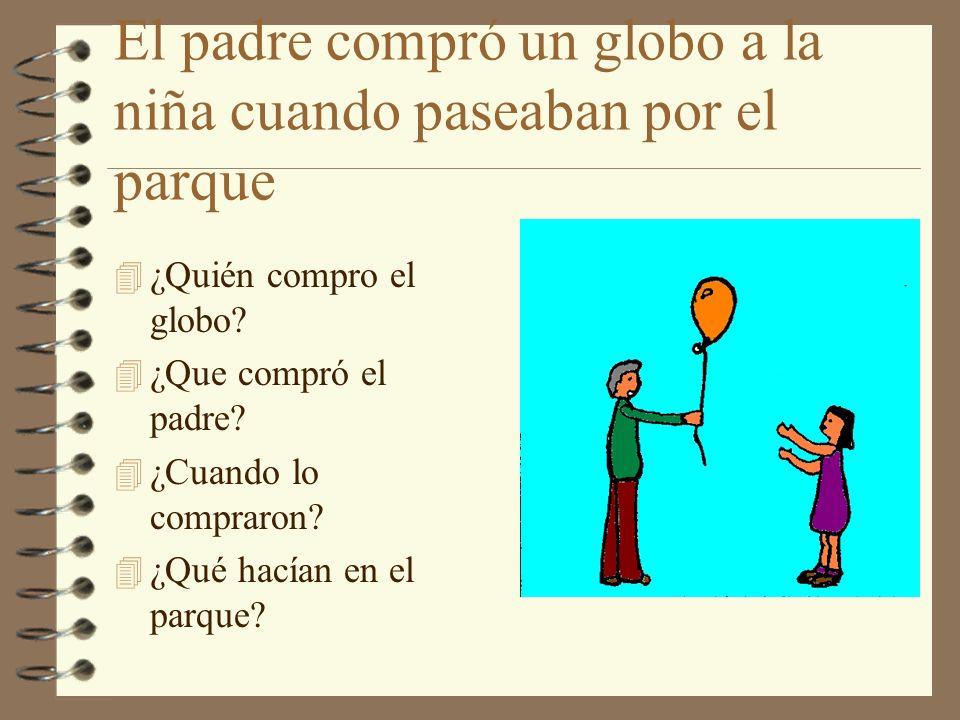 El padre compró un globo a la niña cuando paseaban por el parque