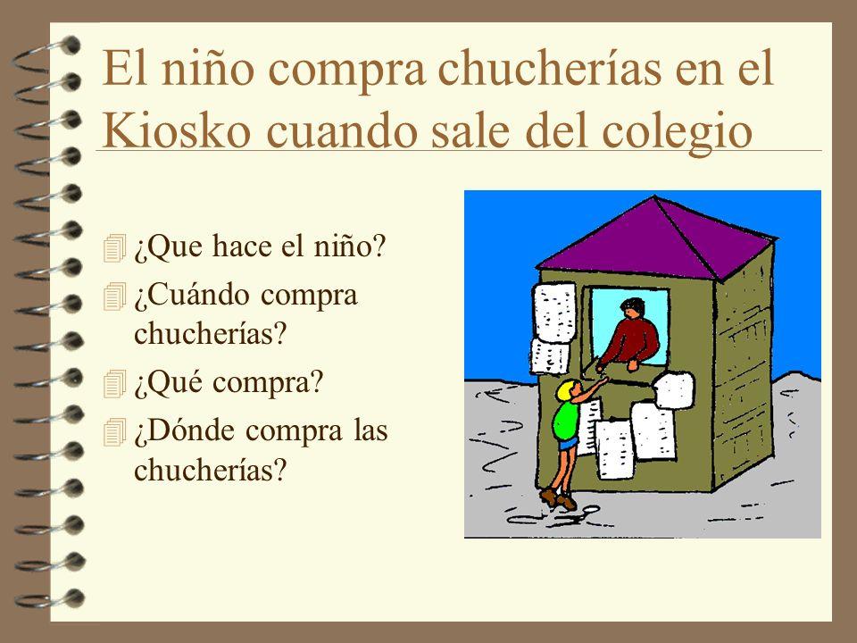 El niño compra chucherías en el Kiosko cuando sale del colegio
